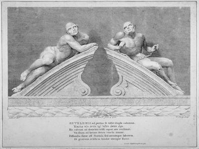 Sculptures Outside the Entrance to Old Bethlehem Hospital, Moorfields, City of London, 1783
