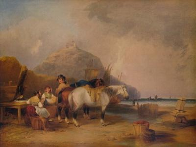 Coast Scene, with Figures and Horses, c1841