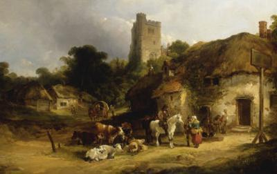 Villagers with their Animals outside the Plough Inn