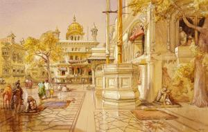 The Akal Boonga at the Golden Temple, Amritsar, India by William Simpson