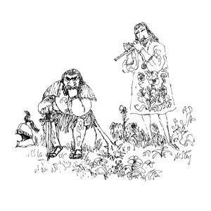 Courtier musician playing flute for disgruntled looking knight who sits on? - New Yorker Cartoon by William Steig