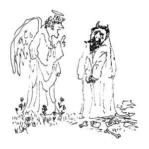 Devil cries as an angel scolds him. - New Yorker Cartoon by William Steig