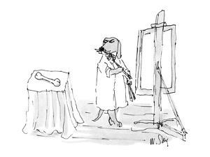 Dog in painter's frock painting a bone. - New Yorker Cartoon by William Steig