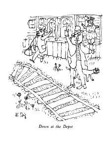 Down at the Depot - New Yorker Cartoon by William Steig