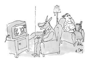 Husband, with head of a jackass, is braying while watching television; ann? - New Yorker Cartoon by William Steig