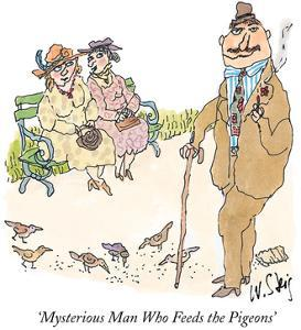 Mysterious Man Who Feeds the Pigeons' - New Yorker Cartoon by William Steig