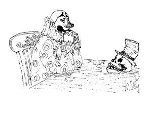 Picture of a clown sitting at a table staring at a skull that is wearing a? - New Yorker Cartoon by William Steig