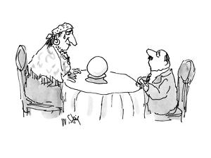 Sheepish man looking at fortune teller who is looking in a crystal ball wi? - New Yorker Cartoon by William Steig