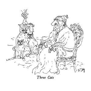 Three Cats - New Yorker Cartoon by William Steig