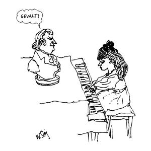 Woman playing piano. - New Yorker Cartoon by William Steig