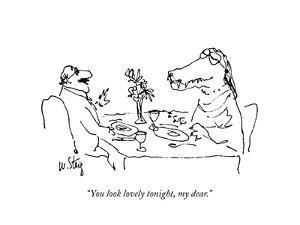 """You look lovely tonight, my dear."" - New Yorker Cartoon by William Steig"