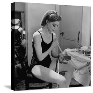Dancer Moira Shearer, Who Plays Cinderella in a Ballet, Preparing to Go on Stage by William Sumits