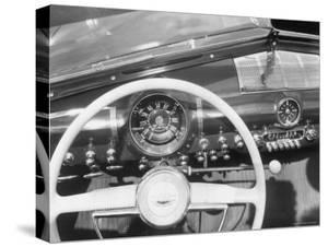 Instrument Panel of New Ford Sedan, Having Big Speedometer and Minimal Ornamentation by William Sumits