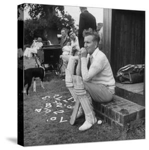 Robert Graves Sitting on Steps Dressed for Cricket by William Sumits