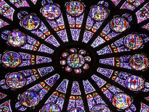 A Rose Window in Notre Dame Cathedral, Paris, France by William Sutton