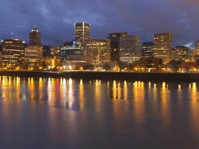 City Lights Reflected in the Willamette River, Portland, Oregon, USA