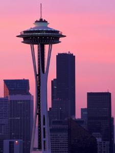 Dawn View of Space Needle and Downtown Seattle, Washington, USA by William Sutton