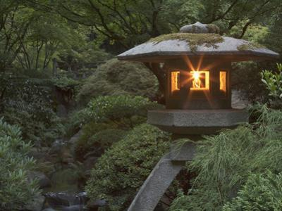 Illuminated Lantern in Portland Japanese Garden, Oregon, USA