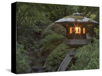 Illuminated Lantern in Portland Japanese Garden, Oregon, USA