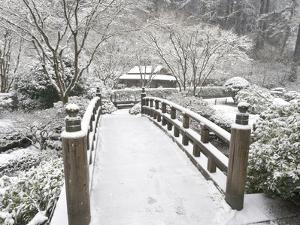 Snow-Covered Moon Bridge, Portland Japanese Garden, Oregon, USA by William Sutton