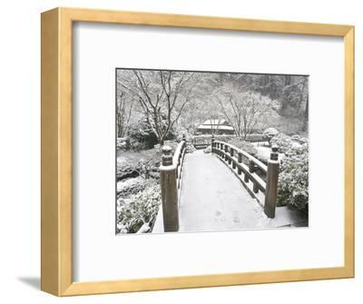 Snow-Covered Moon Bridge, Portland Japanese Garden, Oregon, USA