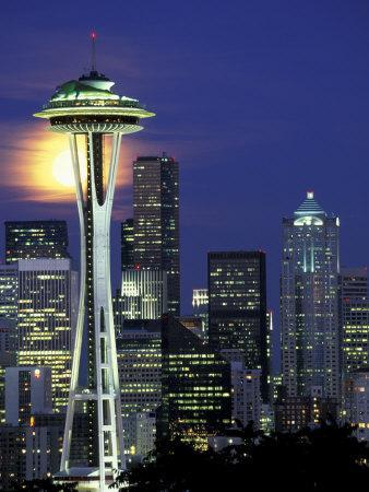 Space Needle and Full Moon, Seattle, Washington, USA