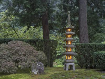 Stone Lantern Illuminated with Candles, Portland Japanese Garden, Oregon, USA