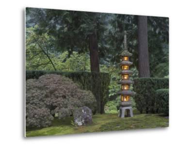 Stone Lantern Illuminated with Candles, Portland Japanese Garden, Oregon, USA