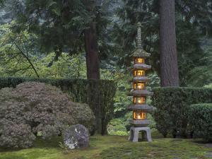 Stone Lantern Illuminated with Candles, Portland Japanese Garden, Oregon, USA by William Sutton