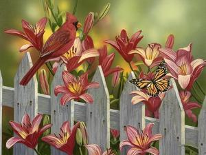 Cardinal and Lilies by William Vanderdasson
