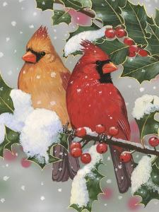 Cardinal Couple with Holly by William Vanderdasson