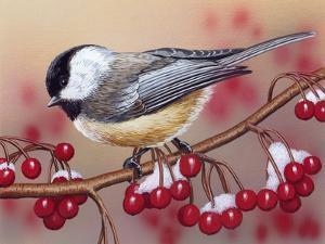 Chickadee with Berries by William Vanderdasson