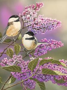 Lilacs and Chickadees by William Vanderdasson