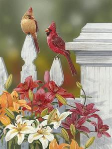 Lilies and Cardinals by William Vanderdasson