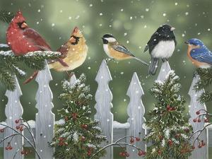 Winter Birds on a Snowy Fence by William Vanderdasson