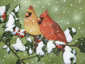 Wintery Cardinals by William Vanderdasson