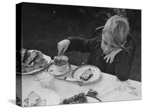 Evacuated London Child Having Tea Outdoors in the Country Where He is Living Temporarily by William Vandivert