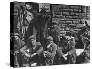 Rhondda Valley Miners Waiting For Their Bus by William Vandivert