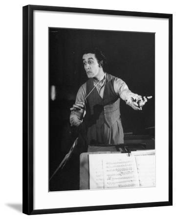 Romanian Conductor Sergiu Celibidache Working with the Berlin Philharmonic