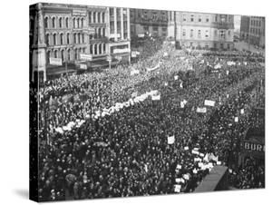 Striking Auto Workers Holding a Demonstration in Cadillac Square by William Vandivert