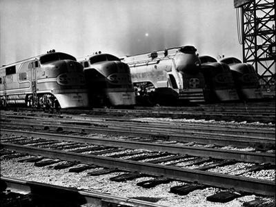 Super Chief and El Capitan Locomotives from the Santa Fe Railroad Sitting in a Rail Yard by William Vandivert