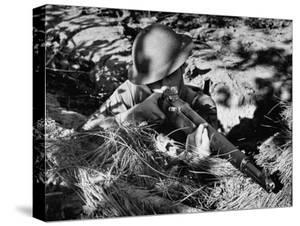 View of a Soldier Using a Garand Semi Automatic Rifle by William Vandivert
