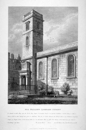 All Hallows Church, Lombard Street, London, 1812