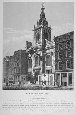 Church of St Edmund the King, Looking West Along Lombard Street, City of London, 1813