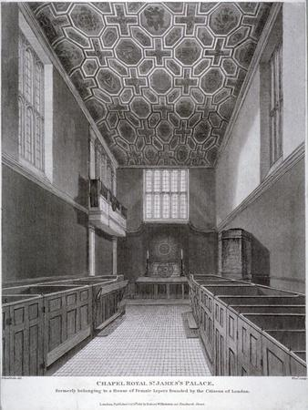 Interior View of the Chapel Royal in St James's Palace, Westminster, London, 1816