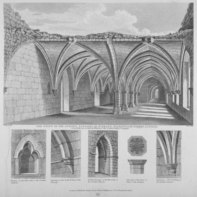 St Helen's Crypt, Bishopsgate, City of London, 1817