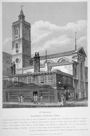 View of St Dionis Backchurch from Fenchurch Street, City of London, 1813