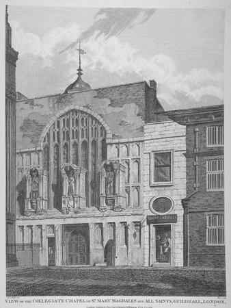 View of the Guildhall Chapel, Giving its Original Dedication, City of London, 1815