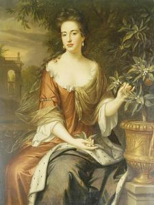Portrait of Queen Mary II, Wearing a Blue and Red Dress and Holding a Sprig of Orange Blossom by William Wissing