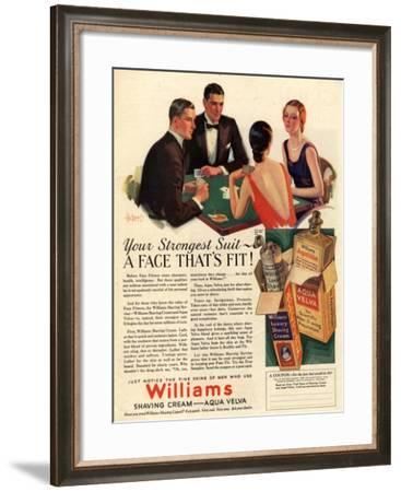 Williams, Aftershave Bridge Playing Cards Games Mens, USA, 1920--Framed Giclee Print